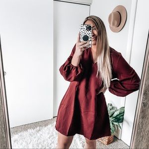 Burgundy dress with bubble sleeves